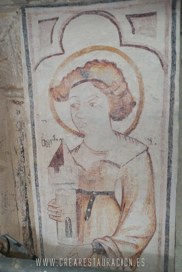 Palas de Rei - Vilar de Donas - Pintura Mural.Sta.Barbara2